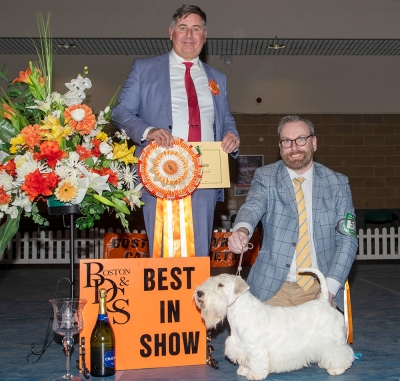 Best in Show at Boston was the Sealyham Terrier, Speedy, aka Ch Ir Ch Forlegd Xlrate Lightning MC Queen At Thornberryhall CJW 19 CW 19, owned by Mr A Daly & Mr K Crockett, pictured with group judge Jeff Horswell.