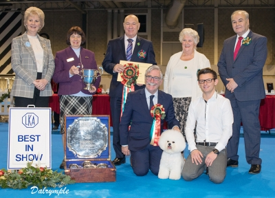 Dave Killilea took to the Best in Show ring and selected as Best in Show the Bichon Frise, Ch Regina Bichon You Rock My World at Pamplona owned by Michael Coad and Rich Smith. Representing LKA are the chairman Jackie Kitchener and treasurer Barbara Roderick. Breed judge Lynn Webster and Group judge George Farmer also photographed.